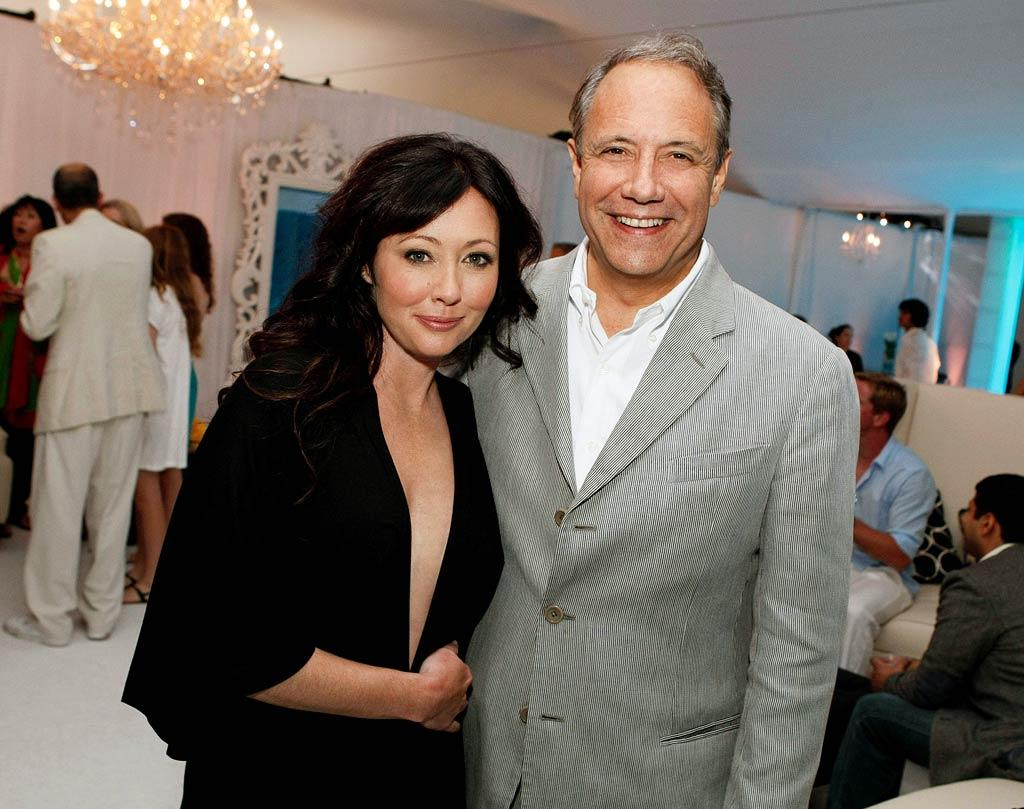"Shannen Doherty and John Maatta (Chief Operating Officer, The CW) at the <a href=""/90210/show/43006"">""90210""</a> Launch Party on Saturday, 8/23 in Malibu, California."