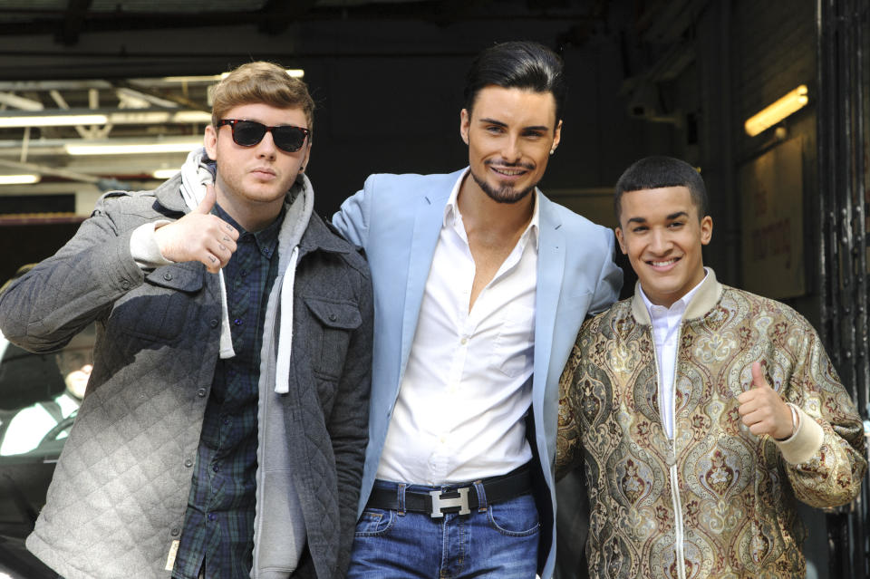 LONDON, ENGLAND - OCTOBER 04:  (L-R) X Factor contestants James Arthur, Rylan Clark and Jahmene Douglas sighted departing the ITV Studios on October 4, 2012 in London, England.  (Photo by Ben Pruchnie/FilmMagic)