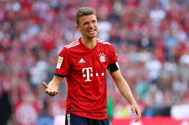 Soccer Football - Bundesliga - Bayern Munich v VfB Stuttgart - Allianz Arena, Munich, Germany - May 12, 2018 Bayern Munich's Thomas Mueller reacts during the game REUTERS/Michael Dalder DFL RULES TO LIMIT THE ONLINE USAGE DURING MATCH TIME TO 15 PICTURES PER GAME. IMAGE SEQUENCES TO SIMULATE VIDEO IS NOT ALLOWED AT ANY TIME. FOR FURTHER QUERIES PLEASE CONTACT DFL DIRECTLY AT + 49 69 650050
