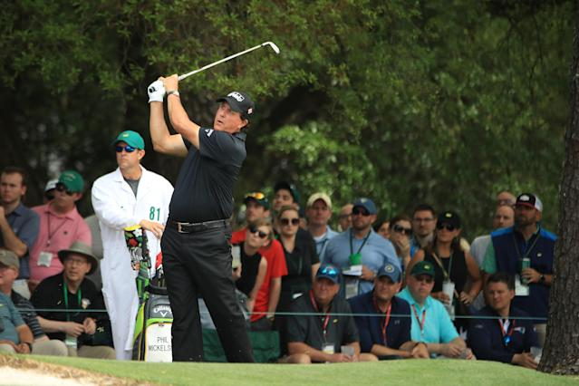 """<h1 class=""""title"""">Phil Mickelson 2019 Masters - Round Three</h1> <div class=""""caption""""> Phil Mickelson tied Patrick Reed and Shane Lowry for the low rounds of the day, five-under 67s, to vault into contention heading into Sunday. </div> <cite class=""""credit"""">(Photo by Andrew Redington/Getty Images)</cite>"""