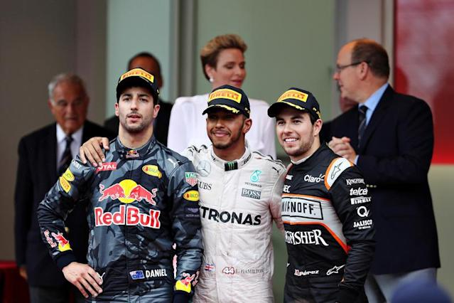 """Top three finishers, Lewis Hamilton, Mercedes AMG F1, Daniel Ricciardo, Red Bull Racing and Sergio Perez, Force India on the podium <span class=""""copyright"""">Red Bull Content Pool</span>"""