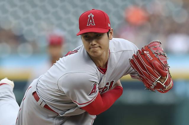 "<a class=""link rapid-noclick-resp"" href=""/mlb/teams/laa"" data-ylk=""slk:Los Angeles Angels"">Los Angeles Angels</a> starting pitcher <a class=""link rapid-noclick-resp"" href=""/mlb/players/10835/"" data-ylk=""slk:Shohei Ohtani"">Shohei Ohtani</a> throws during the second inning of a baseball game against the <a class=""link rapid-noclick-resp"" href=""/mlb/teams/det"" data-ylk=""slk:Detroit Tigers"">Detroit Tigers</a>, Wednesday, May 30, 2018, in Detroit. (AP Photo/Carlos Osorio)"