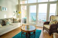 """<p>For something by the sea, look no further than this dog-friendly Airbnb, which sits on the beachfront in the pretty (and pet-friendly) harbour town of Stonehaven. The apartment has a balcony, vaulted ceilings and a wall of glass overlooking the beach. Four-legged guests receive a doggie welcome basket with essentials like a blanket, water and food bowls, tennis ball and treats. Its location means your dog will be in their element as they explore the beach and woods, plus the host provides a list of dog-friendly shops, pubs, restaurants and cafes in the area.</p><p><strong>Sleeps:</strong> 4</p><p><strong>Price per night: </strong>£175 + £25 per booking for small/medium dog</p><p><a class=""""link rapid-noclick-resp"""" href=""""https://airbnb.pvxt.net/5bbOeo"""" rel=""""nofollow noopener"""" target=""""_blank"""" data-ylk=""""slk:SEE INSIDE"""">SEE INSIDE</a></p>"""
