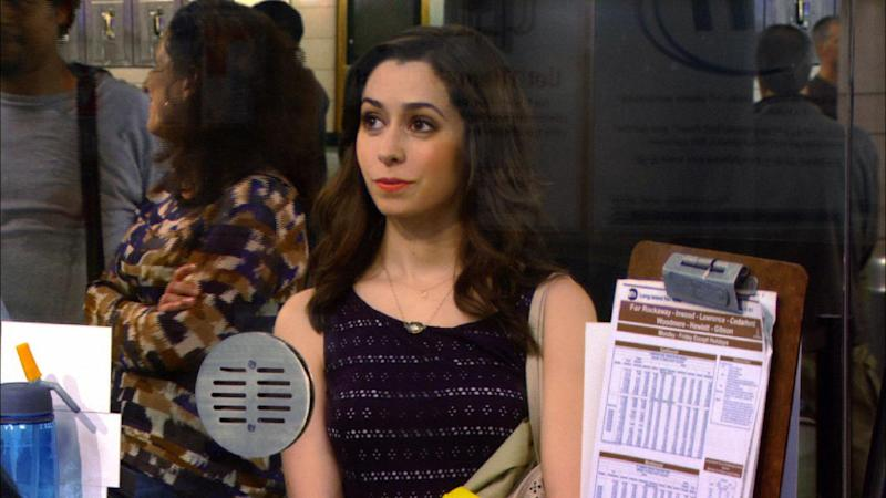 "This TV publicity image released by CBS shows actress Cristin Milioti in a scene from ""How I Met Your Mother."" Milioti, a Tony-award nominee, starred in Broadway in the musical ""Once."" (AP Photo/CBS)"