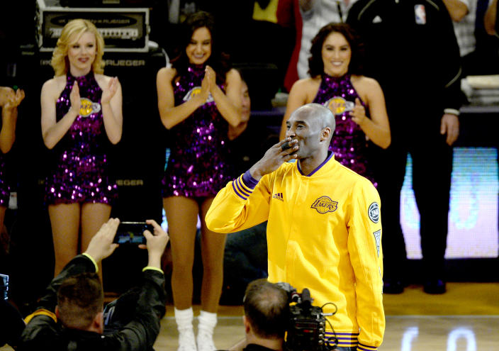 Kobe Bryant will be posthumously inducted into the Naismith Memorial Basketball Hall of Fame on Saturday.  (Kevork Djansezian/Getty Images)