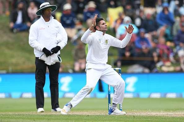 DUNEDIN, NEW ZEALAND - MARCH 10: Keshav Maharaj of South Africa reacts during day three of the First Test match between New Zealand and South Africa at University Oval on March 10, 2017 in Dunedin, New Zealand. (Photo by Dianne Manson/Getty Images)