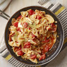 "<p>This warm, flaked tuna and lemon pasta recipe is ready in 30 minutes. <a href=""http://www.eatingwell.com/recipe/262907/farfalle-with-tuna-lemon-and-fennel/"" rel=""nofollow noopener"" target=""_blank"" data-ylk=""slk:View recipe"" class=""link rapid-noclick-resp""> View recipe </a></p>"