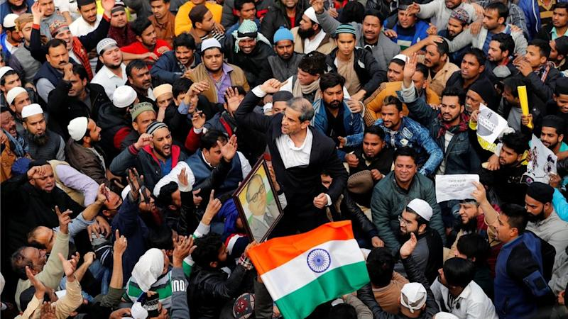 Demonstrators in Delhi, India, protesting against the citizenship law