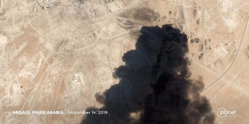 A satellite image shows an apparent drone strike on an Aramco oil facility in Abqaiq, Saudi Arabia September 14, 2019. Planet Labs Inc/Handout via REUTERS