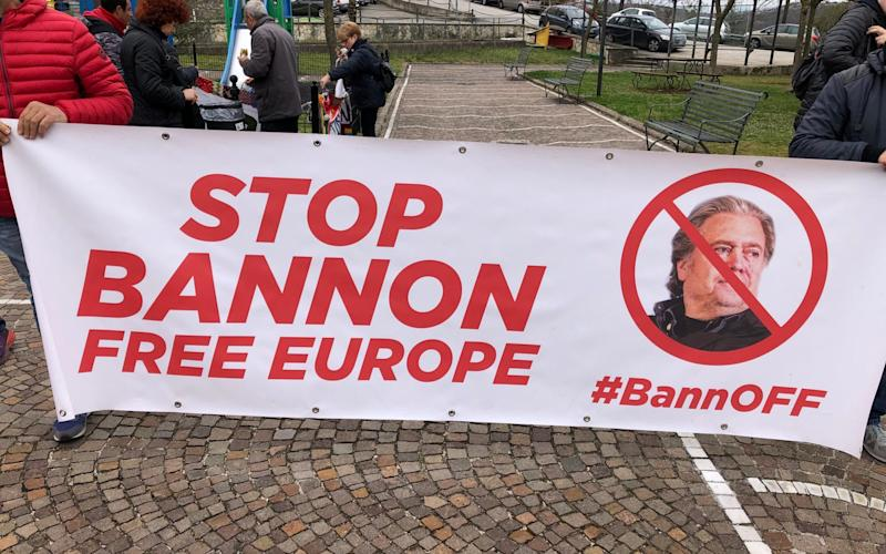 Protesters say the 800-year-old Trisulti charterhouse represents ideals of European openness and have called on the Italian government to cancel Bannon's lease - Giada Zampino