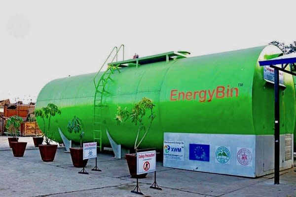 Image: EnergyBin unit installation for processing organic food waste on-site.