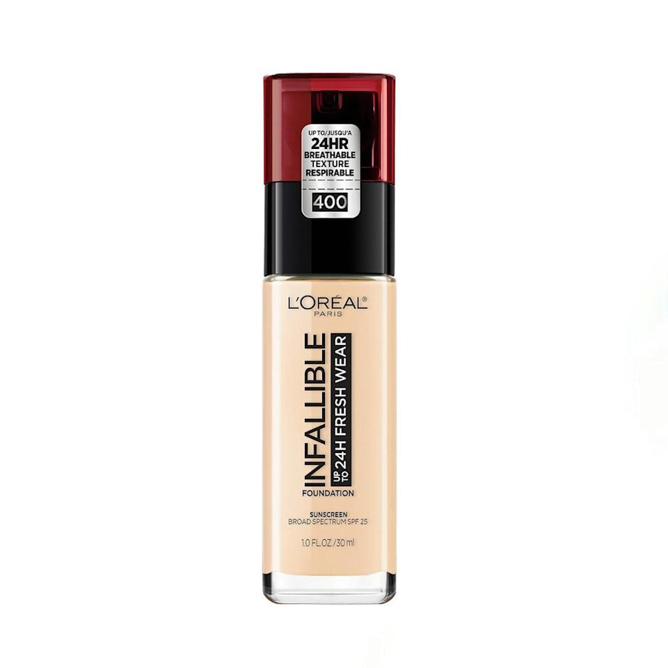 """Like I said, I'm super picky when it comes to foundation, but this one checks all my boxes. It has enough coverage to hide my acne scars but still lets my skin show through everywhere else, and it stays on all day. What really sold me is the perfect satin finish. It's not matte but doesn't look shiny either—it just looks like I'm glowing from the inside out. <em>—B.C.</em> $15, L'Oréal. <a href=""""https://shop-links.co/1734689322102225174"""" rel=""""nofollow noopener"""" target=""""_blank"""" data-ylk=""""slk:Get it now!"""" class=""""link rapid-noclick-resp"""">Get it now!</a>"""