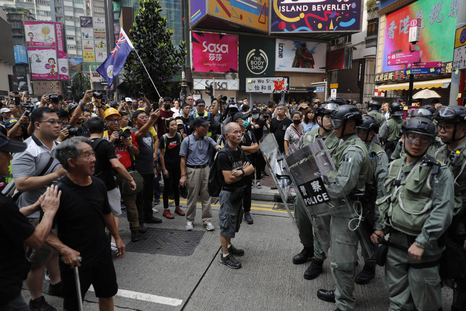 File Photo: Protesters face off with police in Hong Kong on Sunday, Sept. 29, 2019. (AP Photo/Vincent Thian)
