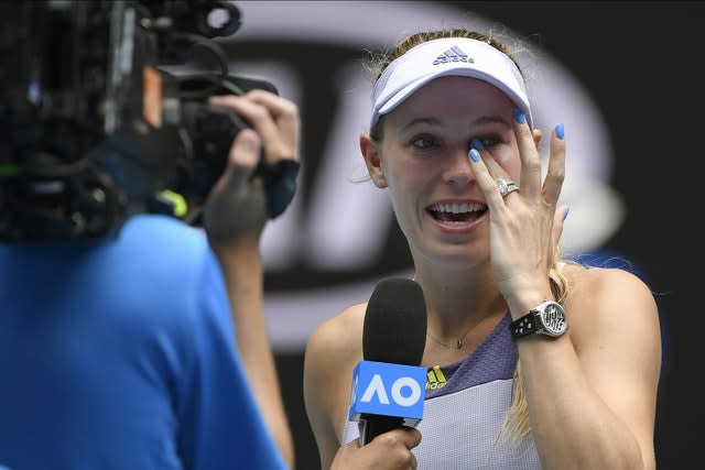 Wozniacki gave an emotional speech after the match (AP Photo/Andy Brownbill)
