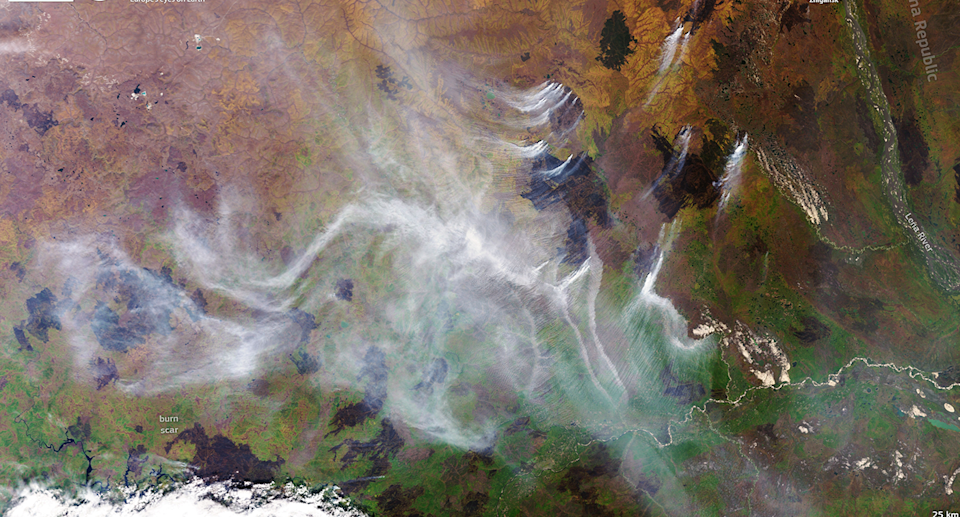 Satellite imagery shows the effect of wildfires in Siberia. Source: European Union, Copernicus Sentinel-3 imagery