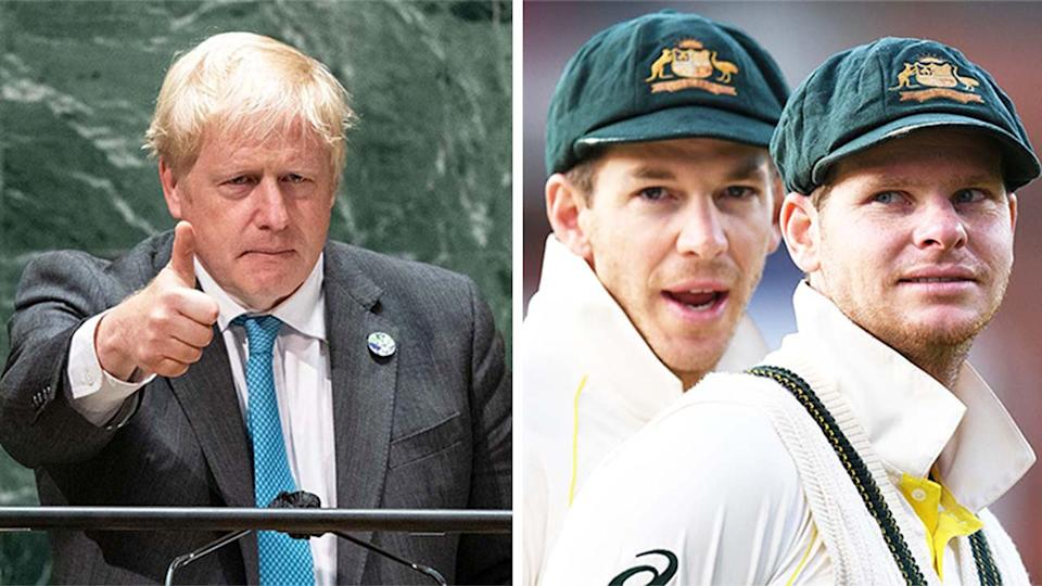 UK Prime Minister Boris Johnson (pictured left) during the UN meeting and (pictured right) Tim Paine and Steve Smith during a match.