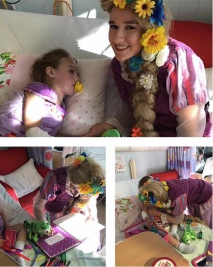 Thanks to Newcastle company Be Your Guest little Chanel's wish was granted and the Tangled princess was right there with a book in hand when Chanel woke up. Photo: Facebook