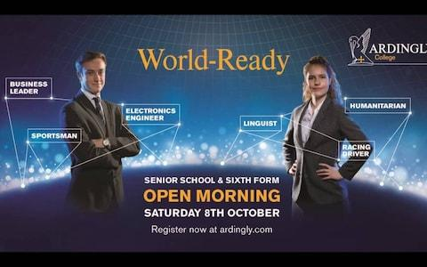 """An alternative """"World-Ready"""" poster showing the girl aiming to be a linguist, humanitarian or racing driver and the boy a business leader, electronics engineer or sporstman"""