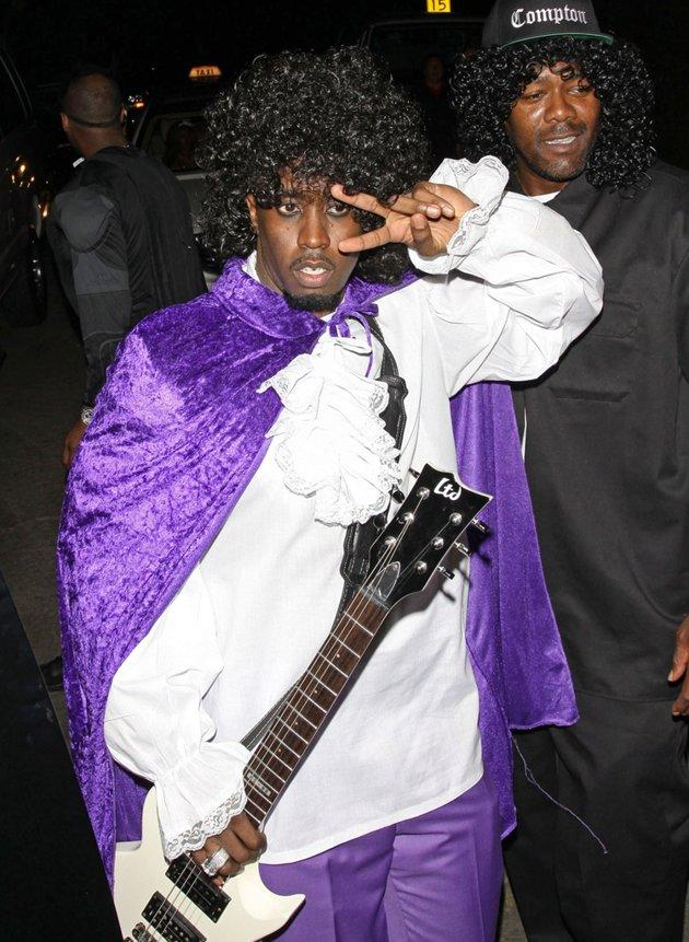 "Though he was involved in a pretty serious car accident last Wednesday, Sean ""P. Diddy"" Combs didn't let that stop him from having Halloween fun over the weekend. For a party at the Playboy mansion on Saturday night, he channeled fellow musician Prince from his ""Purple Rain"" days and even brought along a guitar. (10/27/2012)"