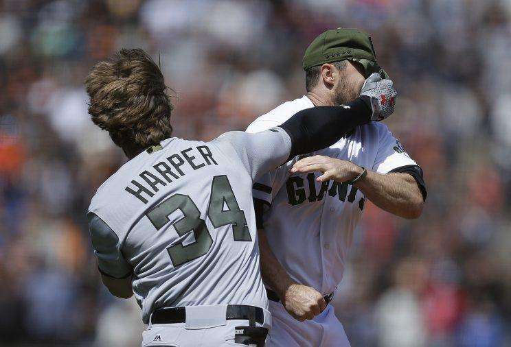Bryce Harper and Hunter Strickland ignited one heck of a brawl Monday. (AP Photo)