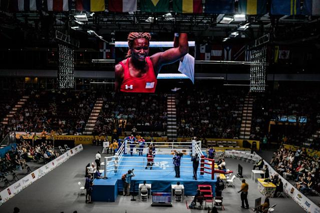 "<p>Claressa ""T-Rex"" Shields on the big screen after winning the Gold Medal at the 2015 Pan Am Games in Toronto, Canada. (Photograph by Zackary Canepari) </p>"