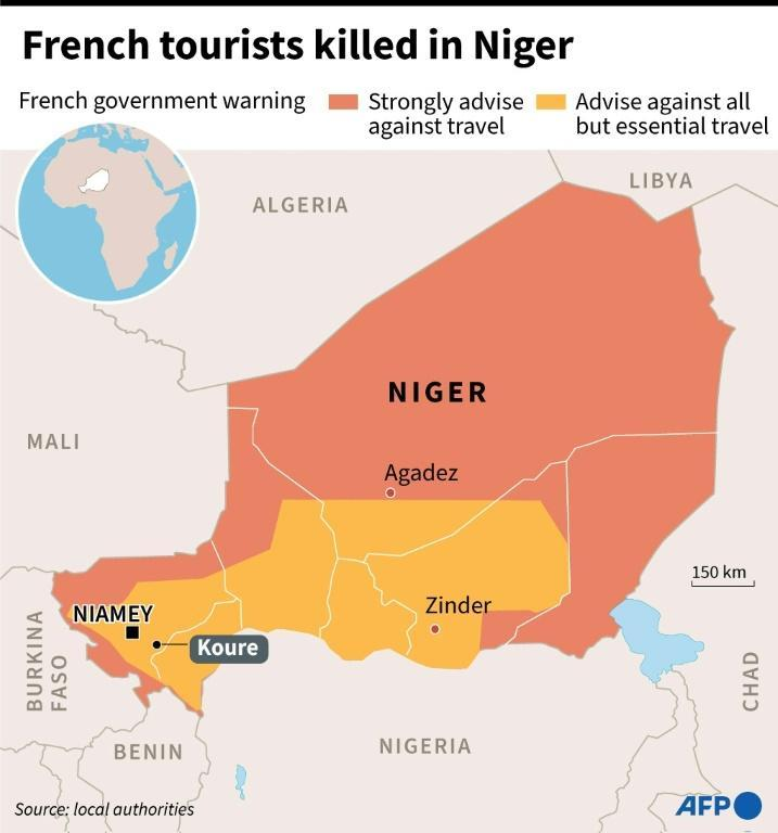 A map of Niger locating the attack on French tourists in Koure