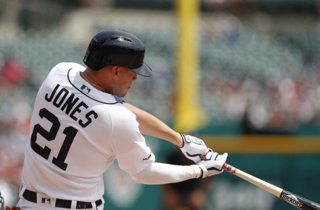 Detroit Tigers' JaCoby Jones connects for a solo home run during the fifth inning of a baseball game against the Toronto Blue Jays, Sunday, July 21, 2019, in Detroit. (AP Photo/Carlos Osorio)
