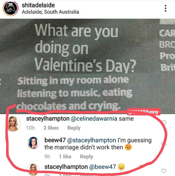 Screenshot shows valentine's Day mock post commented upon by Stacey MAFS bride sharing spoilers