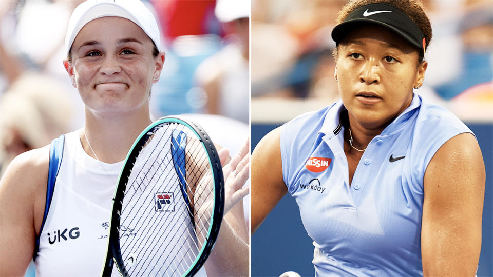 Ash Barty and Naomi Osaka, pictured here in action at the Cincinnati Masters.
