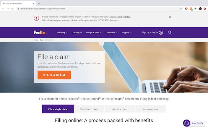 "FedEx offers customers a specified homepage for making claims. <p class=""copyright"">Abigail Abesamis Demarest/Business Insider</p>"