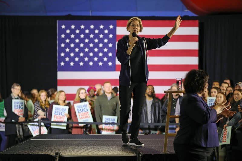 FILE PHOTO: U.S. Democratic presidential candidate Sen. Elizabeth Warren holds a town hall event in West Des Moines