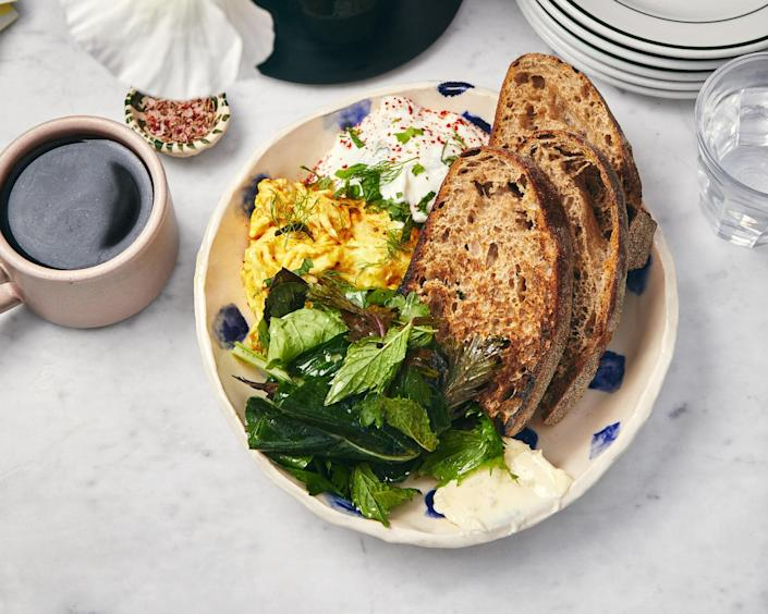 """<a href=""""https://www.bonappetit.com/recipe/spiced-eggs-with-tzatziki?mbid=synd_yahoo_rss"""" rel=""""nofollow noopener"""" target=""""_blank"""" data-ylk=""""slk:See recipe."""" class=""""link rapid-noclick-resp"""">See recipe.</a>"""