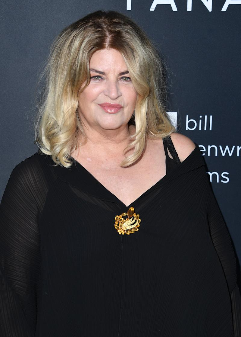 """HOLLYWOOD, CALIFORNIA - AUGUST 22: Kirstie Alley arrives at the Premiere Of Quiver Distribution's """"The Fanatic"""" at the Egyptian Theatre on August 22, 2019 in Hollywood, California. (Photo by Steve Granitz/WireImage,)"""