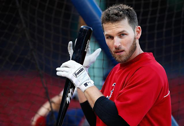 BOSTON, MA - OCTOBER 21: Stephen Drew #7 of the Boston Red Sox takes batting practice during the workout prior to the start of the World Series on October 21, 2013 at Fenway Park in Boston, Massachusetts. (Photo by Jared Wickerham/Getty Images)