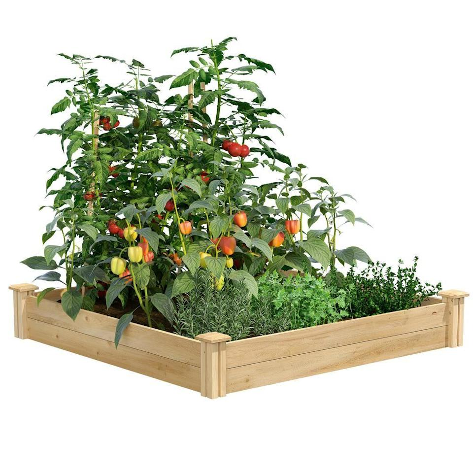 """<p><strong>Greenes Fence</strong></p><p>homedepot.com</p><p><strong>$47.48</strong></p><p><a href=""""https://go.redirectingat.com?id=74968X1596630&url=https%3A%2F%2Fwww.homedepot.com%2Fp%2FGreenes-Fence-4-ft-x-4-ft-x-7-in-Original-Cedar-Raised-Garden-Bed-RC-4C4%2F202520884&sref=https%3A%2F%2Fwww.housebeautiful.com%2Flifestyle%2Fg36036673%2Fgrow-a-spring-garden%2F"""" rel=""""nofollow noopener"""" target=""""_blank"""" data-ylk=""""slk:Shop Now"""" class=""""link rapid-noclick-resp"""">Shop Now</a></p><p>A raised garden bed is easy to assemble on any level outdoor space, so get creative on where you want to set up your garden. Beds come in many sizes, allowing you to stack and attach them to create the perfect landscape.</p>"""
