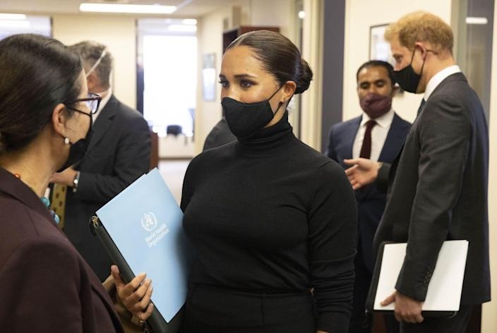 """<p>""""Today's meeting was a much-appreciated opportunity to learn from some of the most-respected experts who are working tirelessly to end this pandemic,"""" the Sussexes said at the event. """"Building on ongoing conversations we've had with global leaders over the past 18 months, today further reinforced our commitment to vaccine equity. We're so encouraged by the spirit of collaboration we heard throughout our conversation and are eager to do our part.""""</p>"""