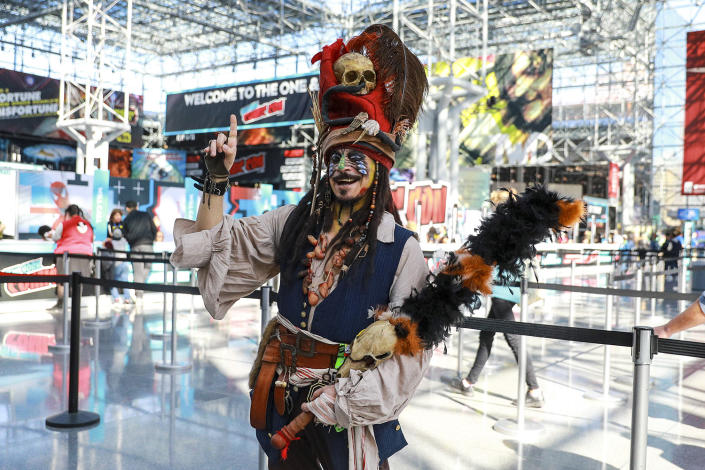 A cosplayer dressed as Capt. Jack Sparrow from Pirates of the Caribbean attends the New York Comic Con 2019  at the Jacob Javits Center on Oct. 5, 2019 in New York City. (Photo: Gordon Donovan/Yahoo News)