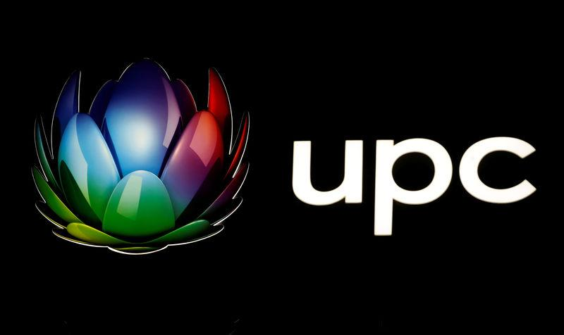 Logo of broadband and telecommunications provider UPC Schweiz is seen at its headquarters in Wallisellen