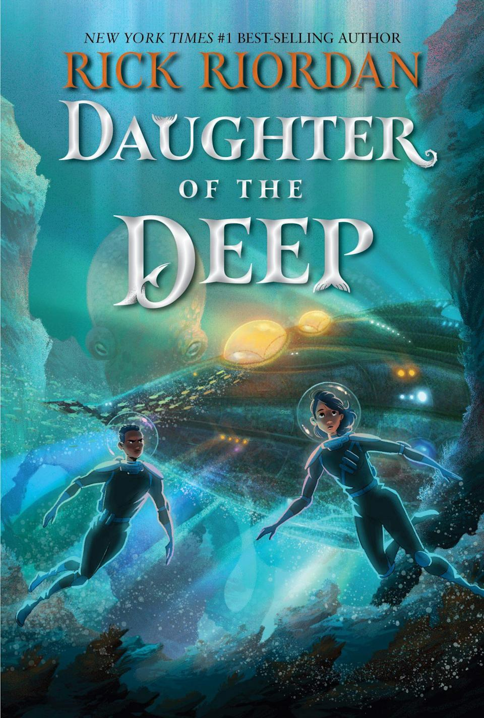 Illustration of two kids in diver suits on the cover of Daughter of the Deep cover