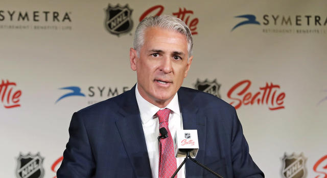 Ron Francis talks to reporters in Seattle after he was introduced as the first general manager for the NHL's latest expansion team. (AP Photo/Ted S. Warren)
