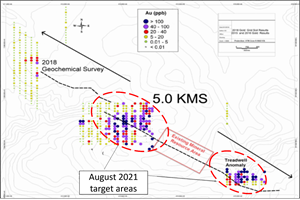 """Geochemical gold in soil anomalies along the """"Jethro"""" Fault"""