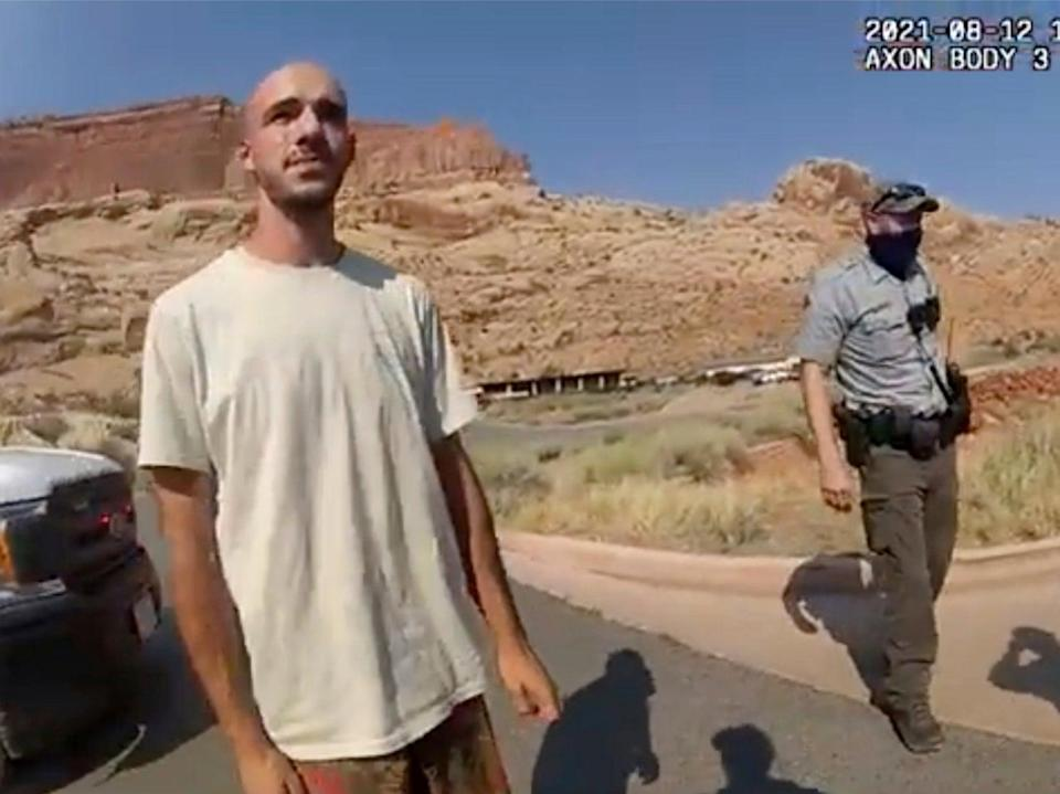 Brian Laundrie during a police stop in Utah on 12 August (AP)