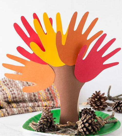 """<p><a href=""""http://www.goodhousekeeping.com/holidays/thanksgiving-ideas/g29194874/how-to-make-hand-turkey/"""" rel=""""nofollow noopener"""" target=""""_blank"""" data-ylk=""""slk:Handprint turkey"""" class=""""link rapid-noclick-resp"""">Handprint turkey</a>? So last year. Cut out lots of handprints in different fall colors to make this seasonal handprint tree.</p><p><em><a href=""""https://www.thebestideasforkids.com/handprint-tree/"""" rel=""""nofollow noopener"""" target=""""_blank"""" data-ylk=""""slk:Get the tutorial at The Best Ideas for Kids »"""" class=""""link rapid-noclick-resp"""">Get the tutorial at The Best Ideas for Kids »</a> </em></p>"""