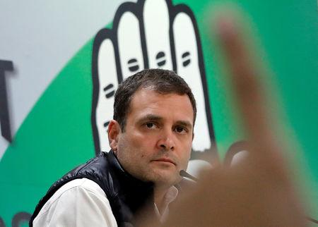 FILE PHOTO - Rahul Gandhi, President of India's main opposition Congress party, pauses as he takes a question during a news conference at his party's headquarters in New Delhi, India, February 13, 2019. REUTERS/Anushree Fadnavis