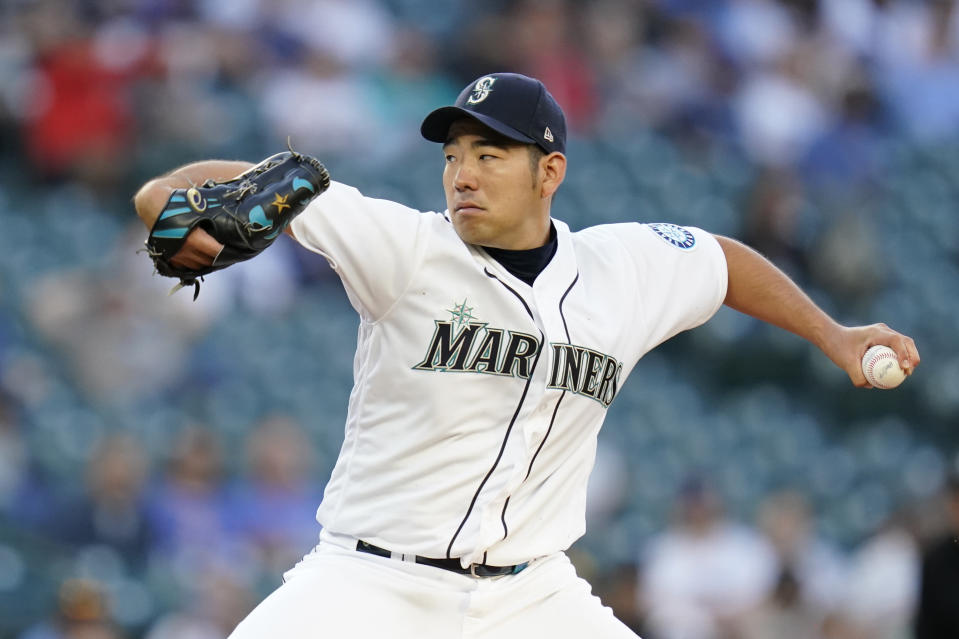 Seattle Mariners starting pitcher Yusei Kikuchi throws to a New York Yankees batter during the second inning of a baseball game Wednesday, July 7, 2021, in Seattle. (AP Photo/Elaine Thompson)
