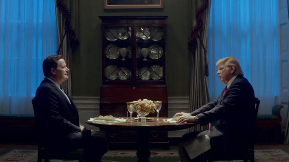 Jeff Daniels as James Comey and Brendan Gleeson as Donald Trump in 'The Comey Rule'. (Credit: Showtime)