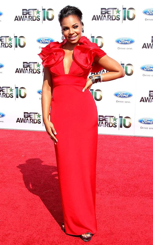 "Singer Ashanti earned rave reviews for her scarlet gown, which featured a sexy neckline and dramatic detailing on the shoulders. Lovely! Frederick M. Brown/<a href=""http://www.gettyimages.com/"" target=""new"">GettyImages.com</a> - June 27, 2010"