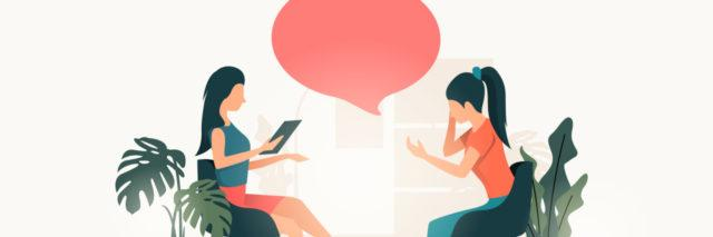 illustration of a woman and her therapist both sitting in chairs across from each other, with plants on either side and a red speech bubble between them