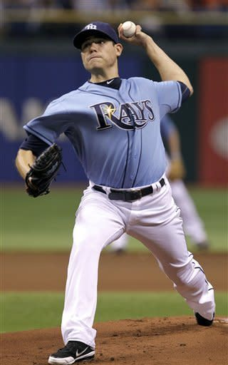Tampa Bay Rays starting pitcher Matt Moore delivers in the first inning to the Miami Marlins during an interleague baseball game on Friday, June 15, 2012, in St. Petersburg, Fla. (AP Photo/Chris O'Meara)
