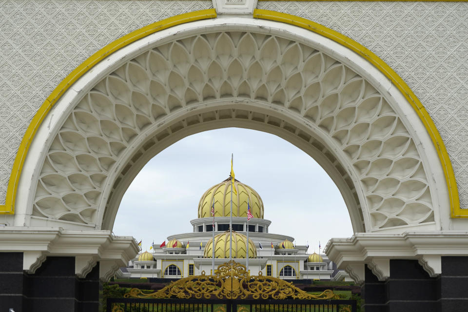 The National Palace is seen in Kuala Lumpur, Malaysia, Sunday, Oct. 25, 2020. National Palace statement says Malay rulers has decided not to accede to Prime Minister Muhyiddin Yassin's request to declare a state of emergency. (AP Photo/Vincent Thian)